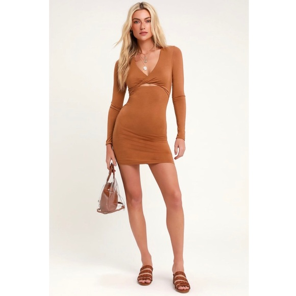 Lulu's Dresses & Skirts - LULU'S Ezra Camel Brown Cutout Bodycon Dress